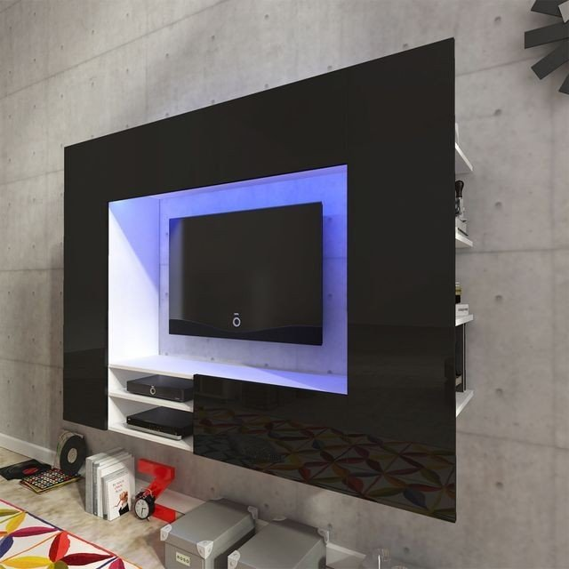 Vitrină lucioasă cu unitate TV și iluminare LED, neagră