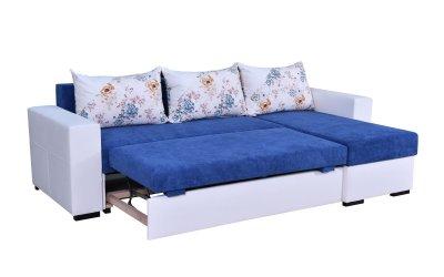 Colțar Daria, extensibil, alb-albastru