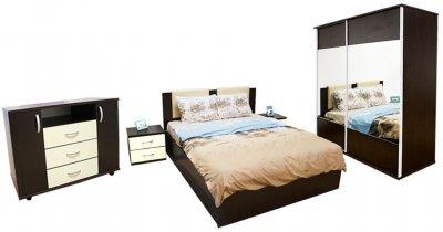 Dormitor Laguna cu pat 140x200 cu 2 sertare, Wenge/Vanilie