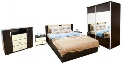 Dormitor Laguna cu pat 160x200 cu 2 sertare, Wenge/Vanilie