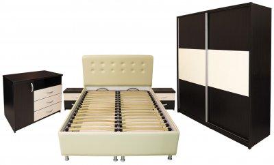Dormitor Milano cu pat 140x200 cm, Wenge / Vanilie