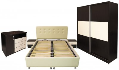 Dormitor Milano cu pat 160x200 cm, Wenge / Vanilie