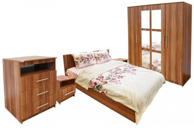 Dormitor Napoli cu pat 160x200 cm, Prun