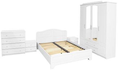 Dormitor Sara cu pat 140x200 cm, Alb / MDF Alb