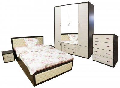 Dormitor Torino cu pat cu somiera metalica rabatabila pentru saltea 140x200 cm, Wenge / Brad