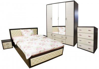 Dormitor Torino cu pat pentru saltea 160x200 cm, Wenge / Brad