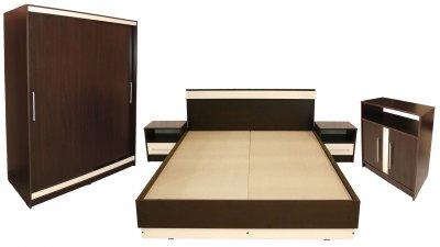 Dormitor Verona cu pat 140x200 cm, Wenge / Vanilie