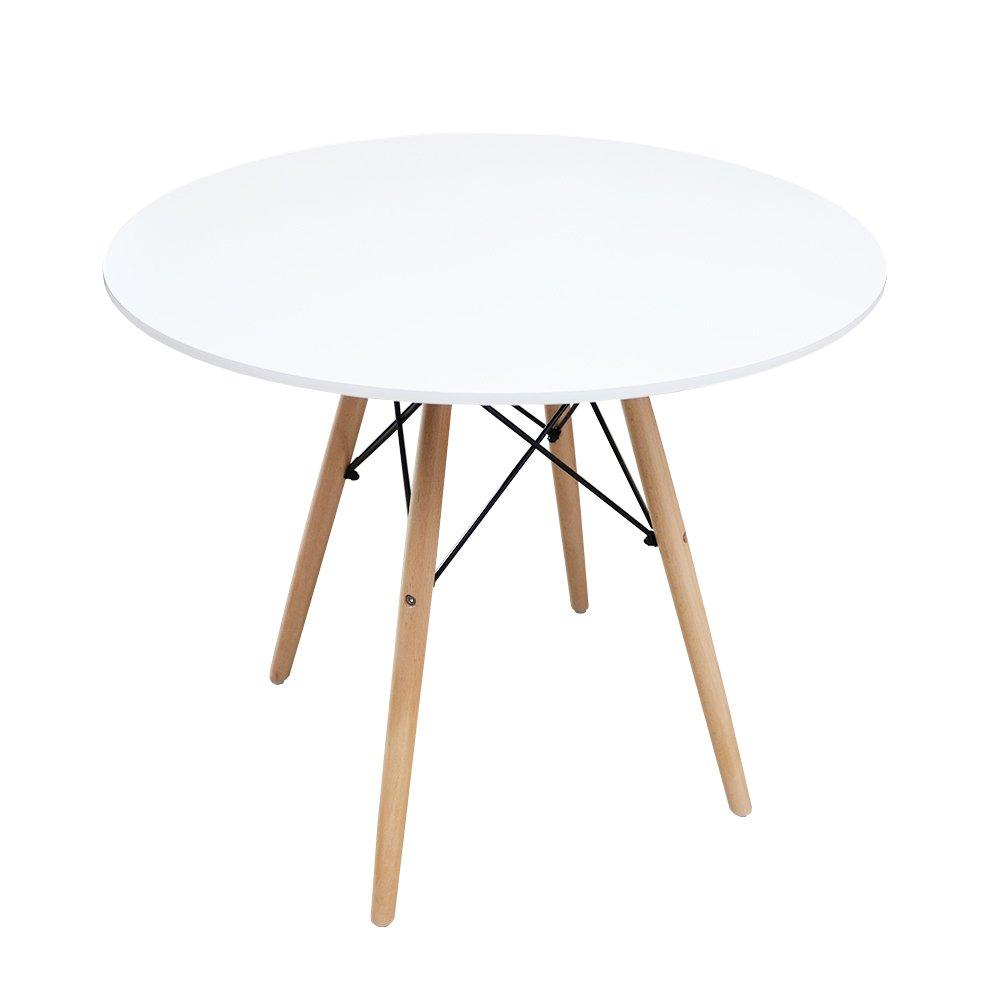 Masa Eames MDF rotunda cu picioare din lemn, alba, 80 x 72 cm